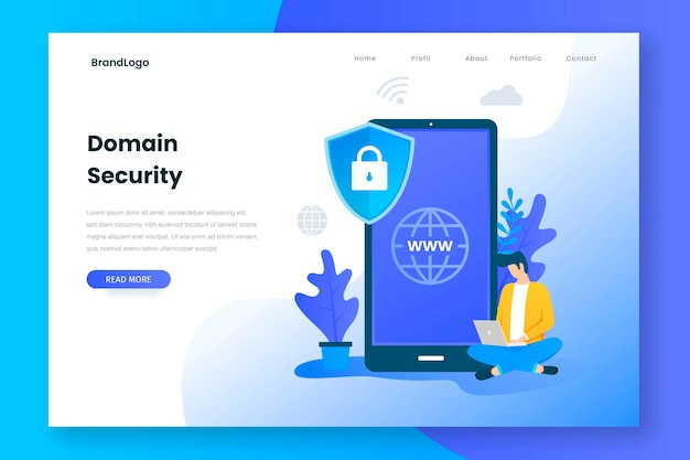 Landing page concept of domain security Premium Vector