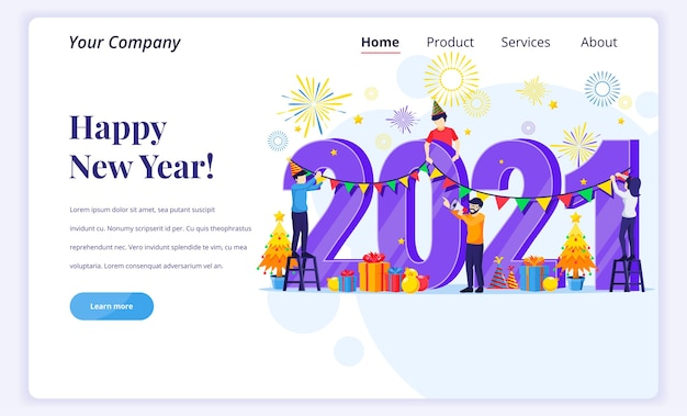 Landing page  concept of happy new year Premium Vector