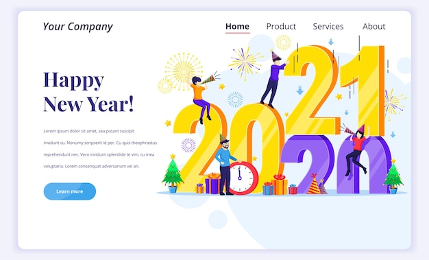 Landing page  concept of happy new year. Premium Vector