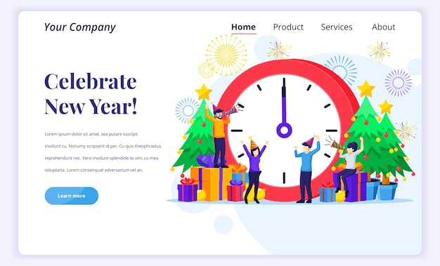 新年を祝うのランディングページのコンセプト。 Premiumベクター