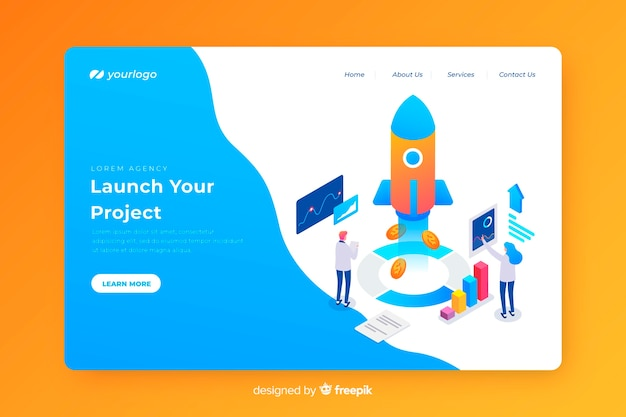 Landing page concept for start up Free Vector