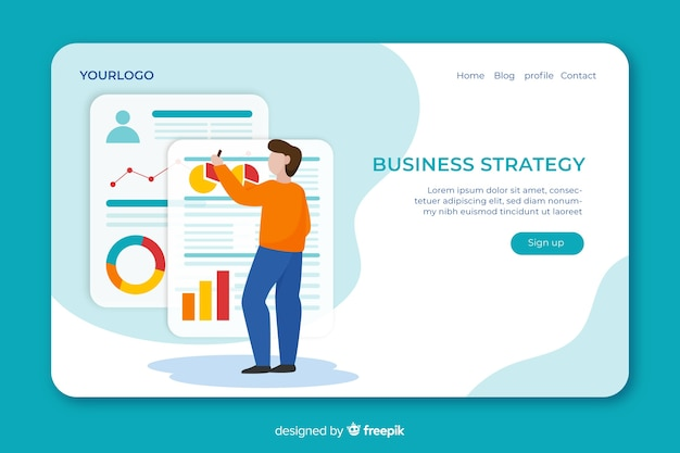Landing page concept with business strategy Free Vector