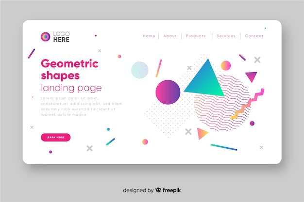 Landing page concept with geometric shapes Free Vector