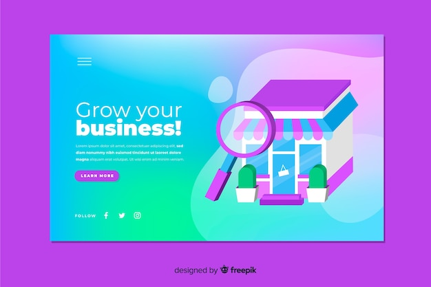 Landing page concept with gradient effect Free Vector