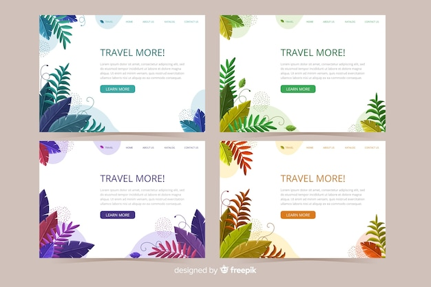 Landing page concept with leaves background Free Vector