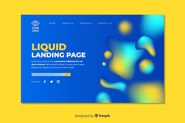 Landing page concept with liquid effect Free Vector
