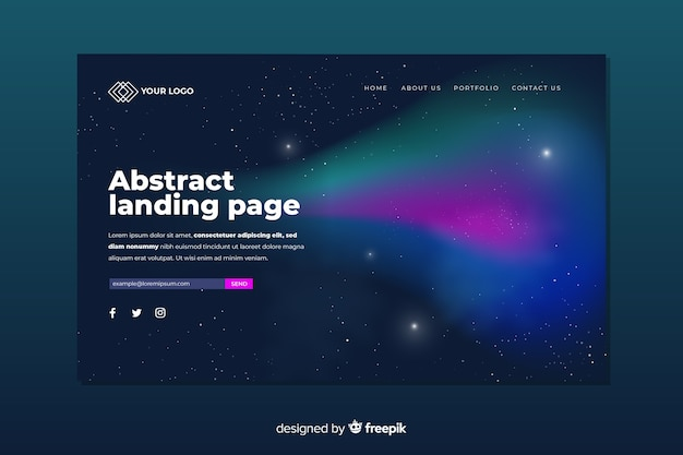 Landing page concept with nothern lights Free Vector