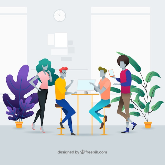 Landing page concept with people in office Free Vector