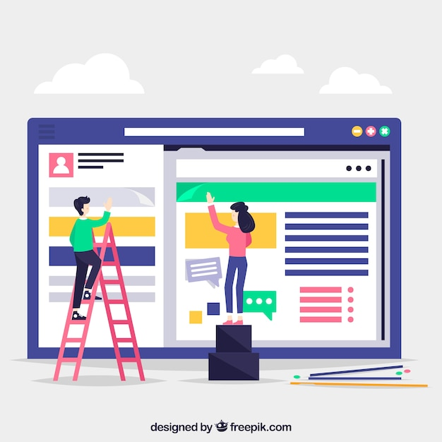 Landing page concept with workers Free Vector