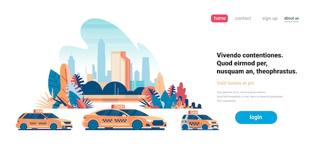 Landing page concept with yellow taxi Premium Vector