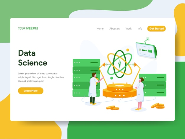 Landing page. data science illustration concept Premium Vector