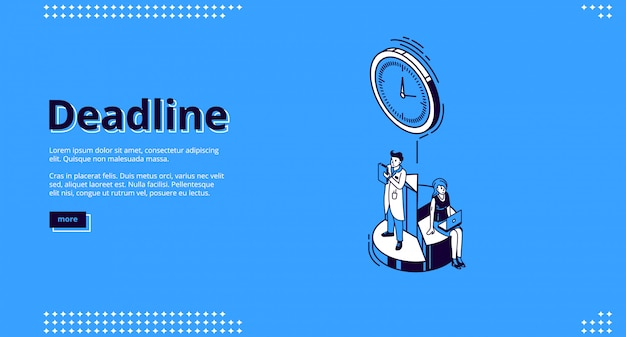 Landing page of deadline with clock and people Free Vector