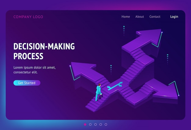Landing page of decision making process Free Vector