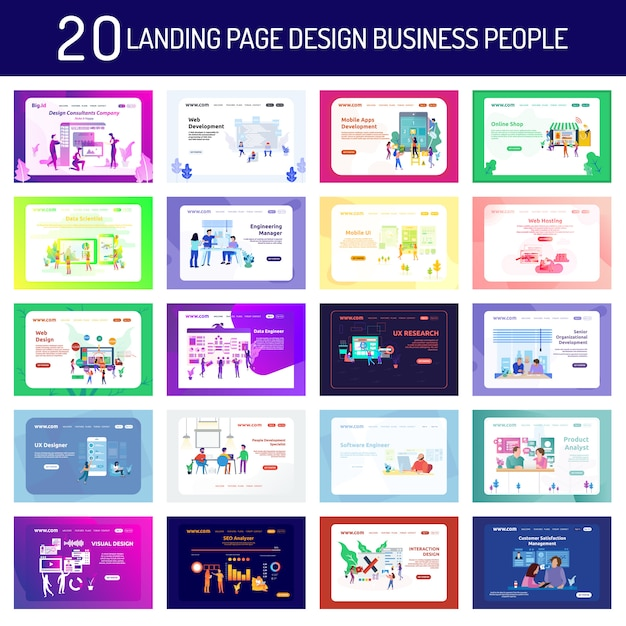 Landing page design business people and working people Premium Vector