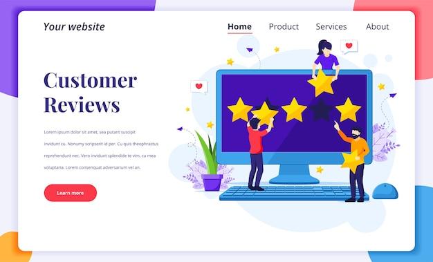 고객 리뷰의 랜딩 페이지 디자인 컨셉, 별 5 개 등급 및 리뷰 및 긍정적 인 피드백을 제공하는 사람들 프리미엄 벡터