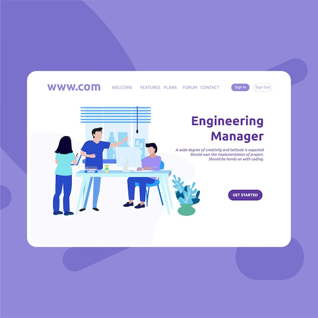Landing page design engineering manager Premium Vector