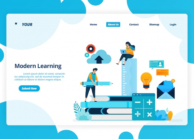 Landing page design of modern learning. distance education technology during quarantine. Premium Vec