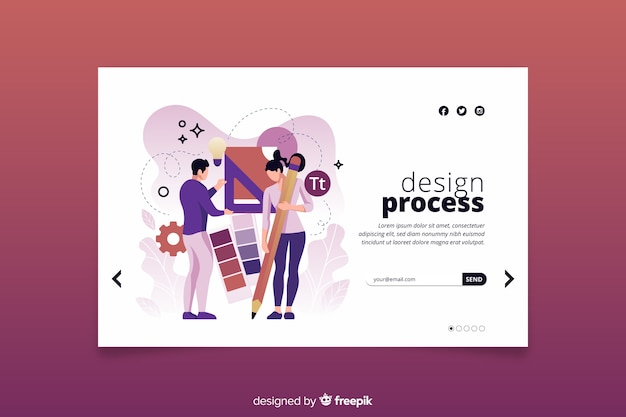 Landing page design process concept Free Vector