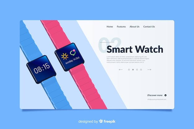 Landing page design for smart watches Free Vector