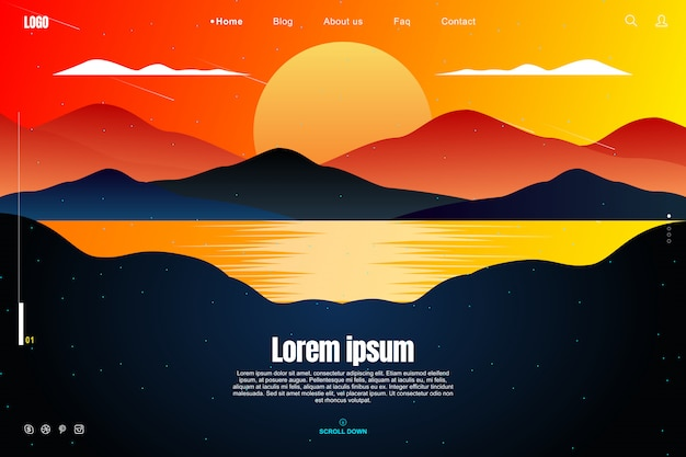 Landing page design in sunset sky concept Premium Vector