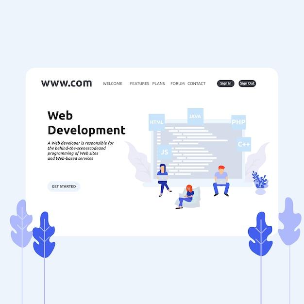 Landing page design web development Premium Vector