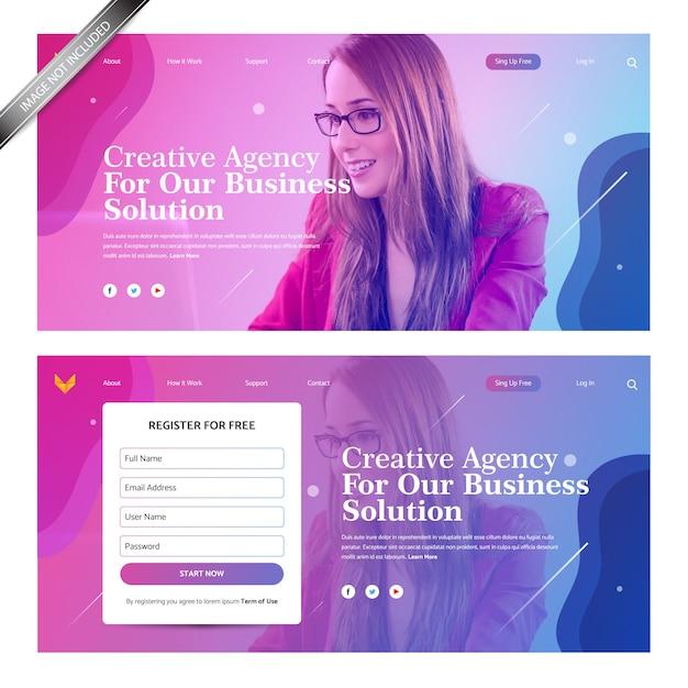 Landing page design with gradient background Premium Vector