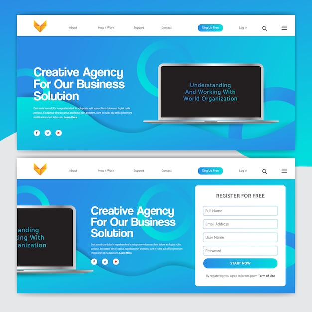Landing page design with gradient on color and laptop vector Premium Vector