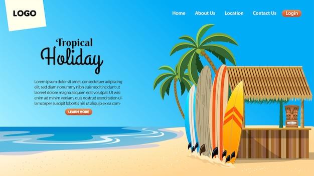 トロピカルビーチバーの状況でのランディングページのデザイン Premiumベクター