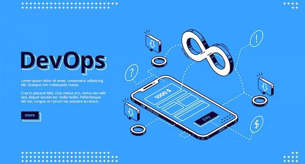 Landing page of devops, development operations Free Vector
