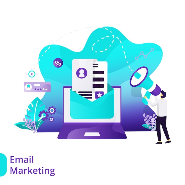 Landing page email marketing vector illustration concept Premium Vector