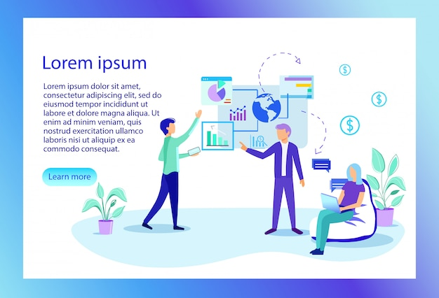 Landing page. employees in office. financial project management Premium Vector