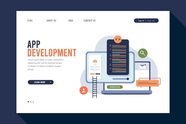 さまざまなデバイスでのアプリケーション開発のランディングページ 無料ベクター