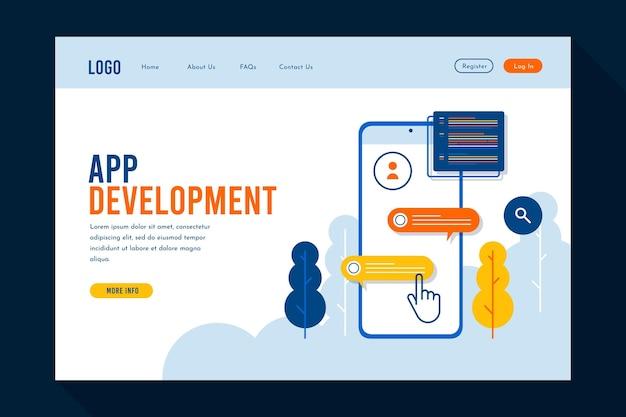 アプリケーション開発のランディングページ 無料ベクター