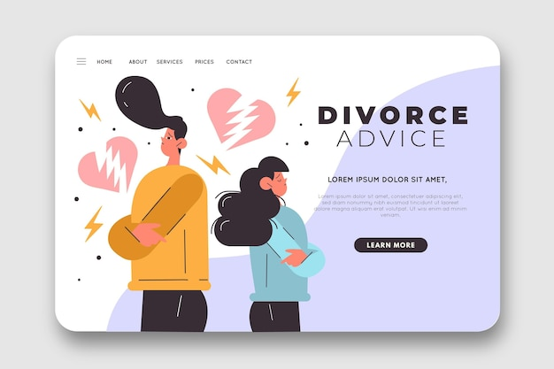 離婚アドバイスのランディングページ 無料ベクター