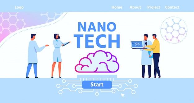 Целевая страница для мозговой лаборатории nano tech Premium векторы