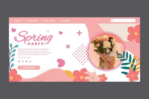 여성과 꽃이있는 봄 파티를위한 방문 페이지 무료 벡터