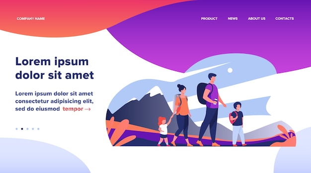 Landing page, happy active family walking outdoors. couple of tourists with children hiking, carrying camping backpacks. vector illustration for holiday, mountain trekking, activity, lifestyle concept Free Vector