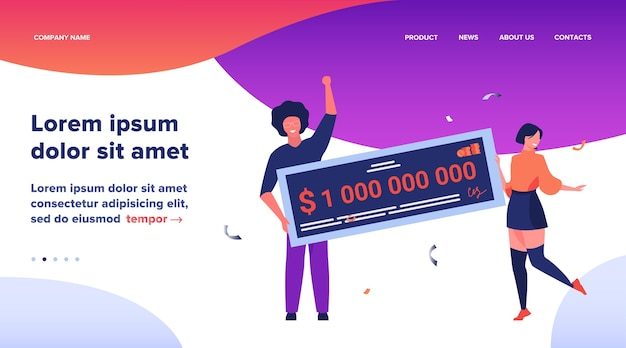 Landing page, happy girl and guy winning billion of cash, getting money prize, holding bank check. flat vector illustration for grant, lottery winner, jackpot concept Free Vector