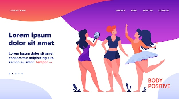 Landing page, happy girls admiring their bodies flat vector illustration. body positive female characters smiling each other. active women with plus size figures. different beauty, fashion and healthy lifestyle Free Vector