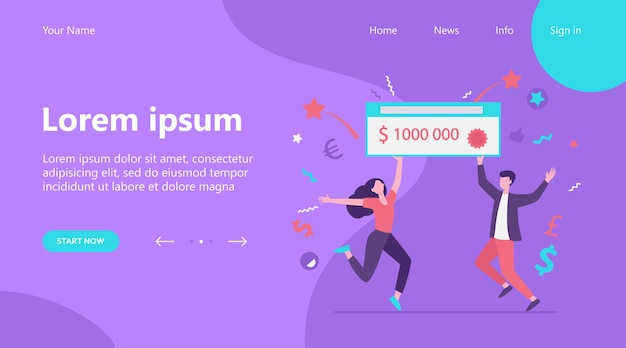 Landing page, happy guy and girl winning money prize. jackpot winners holding bank check for one million dollars. can be used for fortune, luck, lottery topics Free Vector