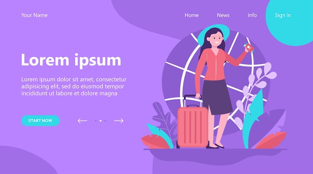 Landing page, happy woman travelling to other country. ticket, bag, journey flat vector illustration. trip and vacation concept Free Vector