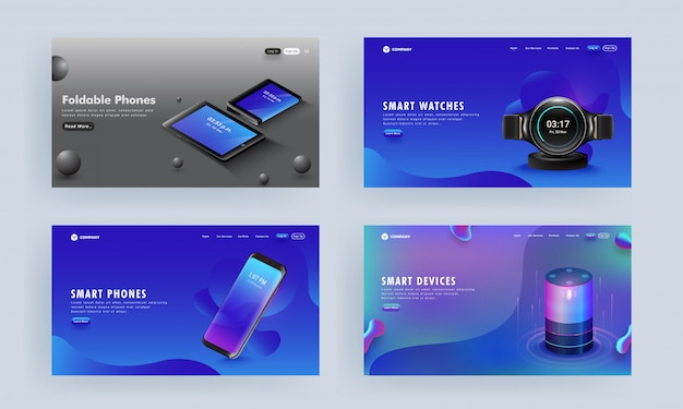 Landing page or hero shots set with gadgets like as smartphone, voice assistant, tablets, and smart watch on abstract Premium Vector