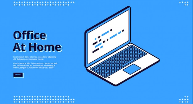 Landing page of home office with laptop Free Vector