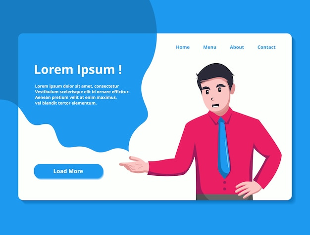 Landing page illustration for business theme website Premium Vector