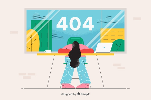 Landing page illustration error 404 concept Free Vector