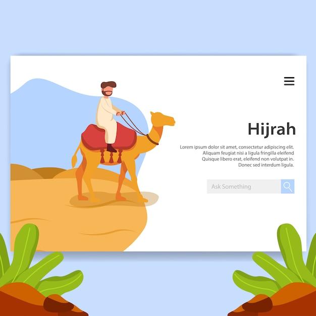 Landing page illustration hijrah, islamic new year ui design Premium Vector