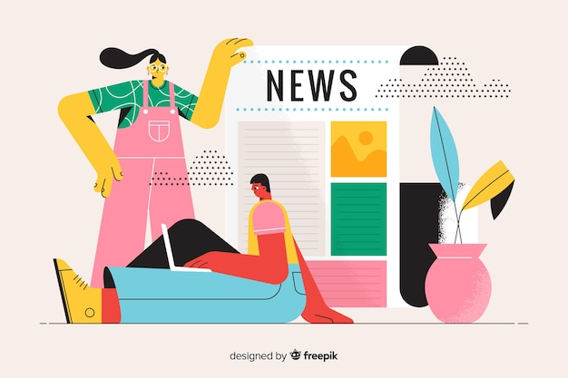 Landing page illustration news concept Free Vector