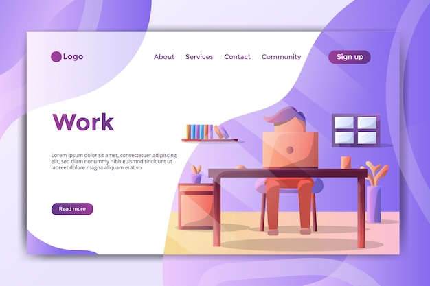 Landing page illustration work in the room Premium Vector
