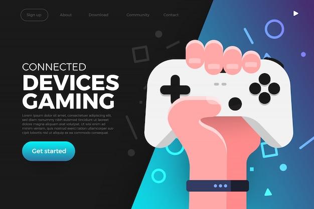 Landing page. illustrations concept game streaming platform Premium Vector