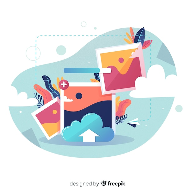 Landing page image upload concept Free Vector